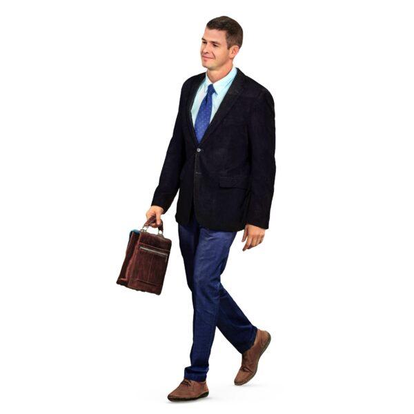 3d businessman with briefcase - scanned 3d models - Renderbot